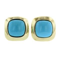 18 Karat Yellow Gold Turquoise Earrings