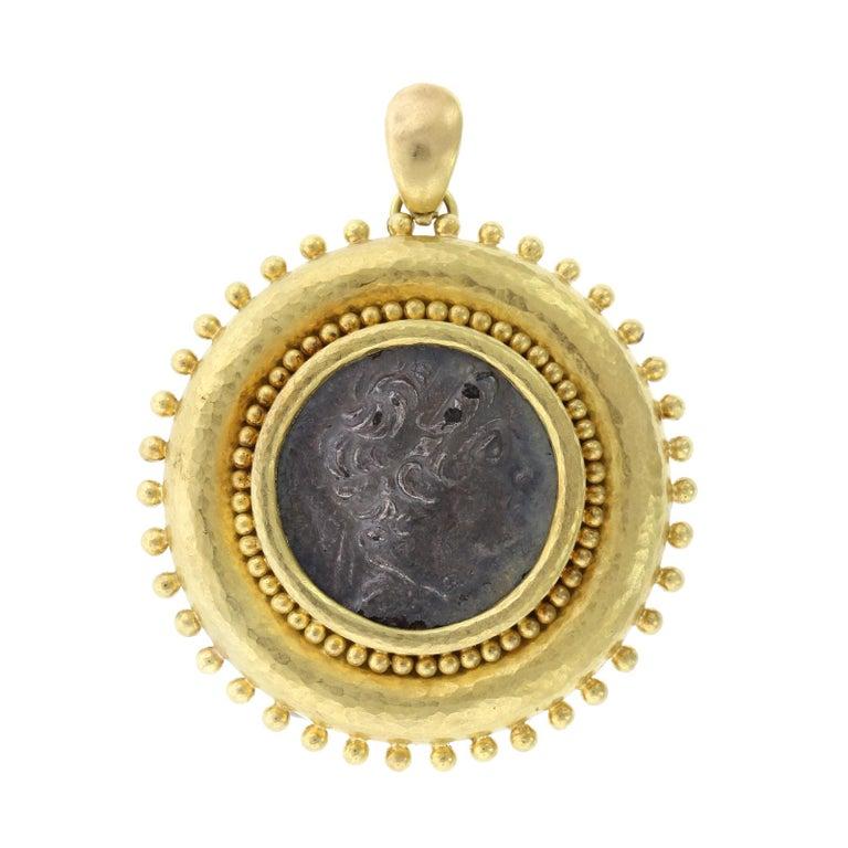 Elizabeth Locke 18 Karat Yellow Gold Ancient Coin Pendant Brooch