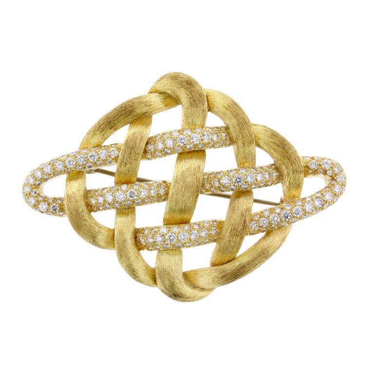 Henry Dunay 18 Karat Yellow Gold Diamond Woven Brooch