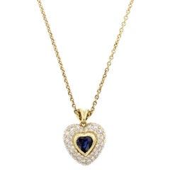 Kurt Wayne 18 Karat Yellow Gold Sapphire and Diamond Heart Pendant