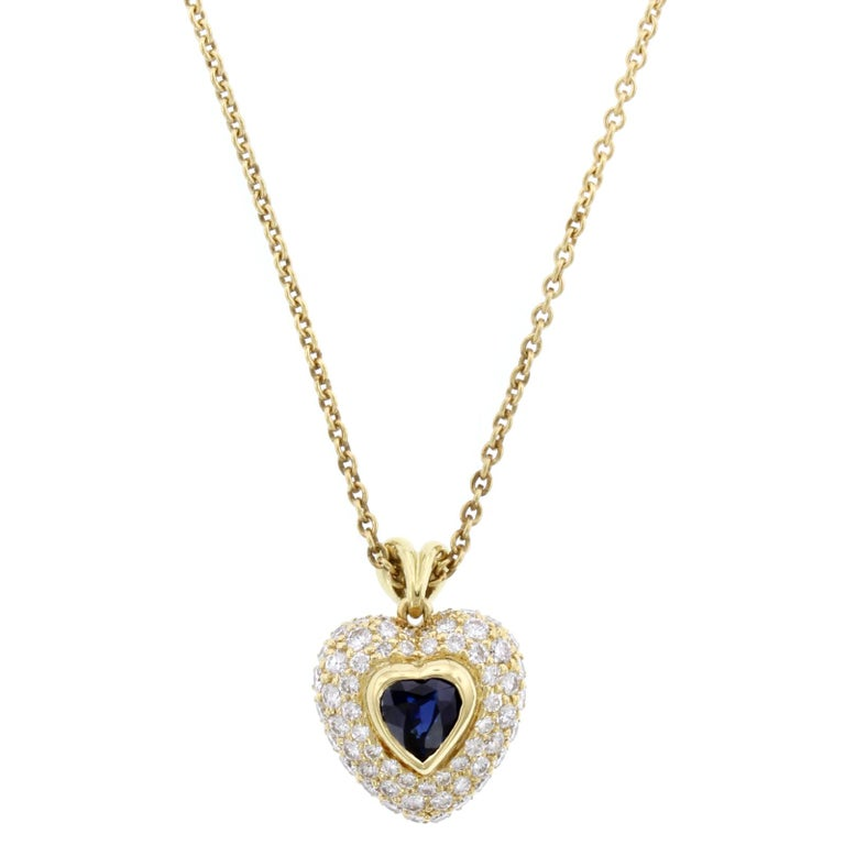 Kurt wayne 18 karat yellow gold sapphire and diamond heart pendant kurt wayne 18 karat yellow gold sapphire and diamond heart pendant for sale aloadofball Images