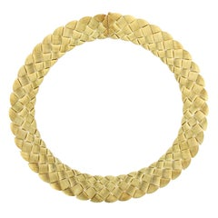 Henry Dunay 18 Karat Yellow Gold Woven Necklace