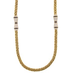 Hammerman Brothers 18 Karat Yellow Gold Sapphire and Diamond Necklace