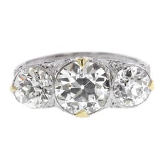 Edwardian Platinum Diamond Three-Stone Ring GIA Certified