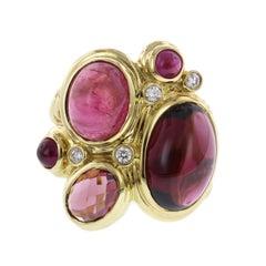 David Yurman 18 Karat Gold Pink Tourmaline, Garnet and Diamond Mosaic Ring