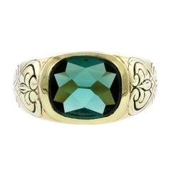 F. Walter Lawrence Art Nouveau 18 Karat Yellow Gold Green Tourmaline Ring