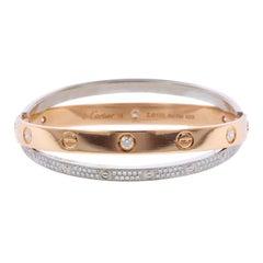 Cartier 18 Karat Pink and White Gold Diamond Paved Love Bracelet
