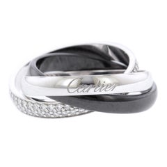 Cartier 18 Karat White Gold Ceramic and Diamond Trinity Ring