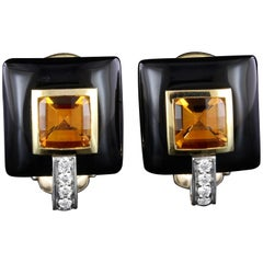 Michael Bondanza 18 Karat Gold, Platinum Onyx, Citrine and Diamond Earrings