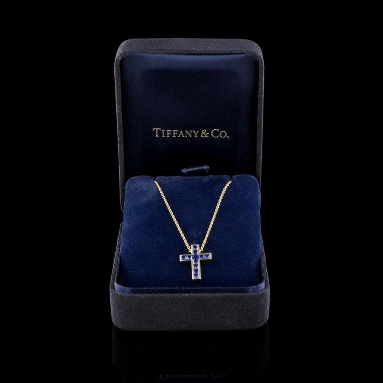 Women's Tiffany & Co. 18 Karat Yellow Gold Sapphire Cross For Sale