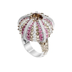 Lorenz Bäumer Pink Sapphire Sea Urchin Diamonds Gold Cocktail Ring