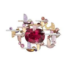 Lorenz Bäumer 66 Carat Cushion Cut Rubellite Sapphires Diamonds Brooch