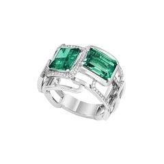 Lorenz Bäumer Unique GRS Certified Emeralds Diamonds White Gold Mosaic Ring
