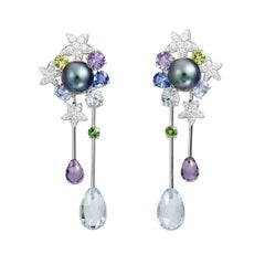 Lorenz Bäumer Pearls Aquamarines Amethysts Sapphires Diamonds Couture Earrings