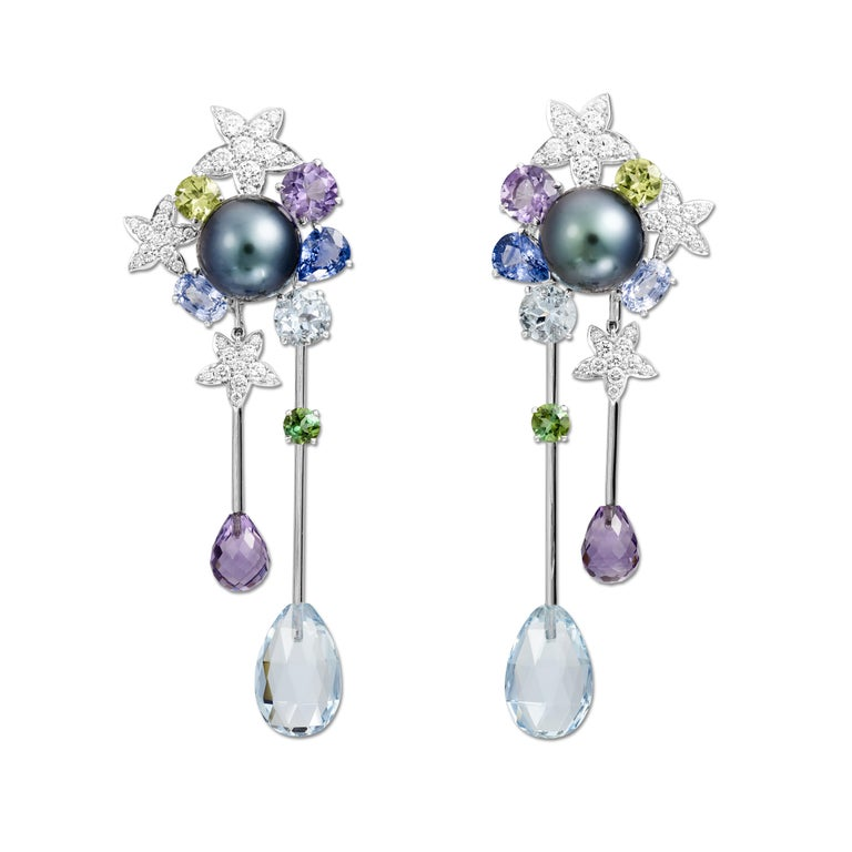 Lorenz Bäumer Pearls Aquamarines Amethysts Sapphires Diamonds Couture Earrings For Sale