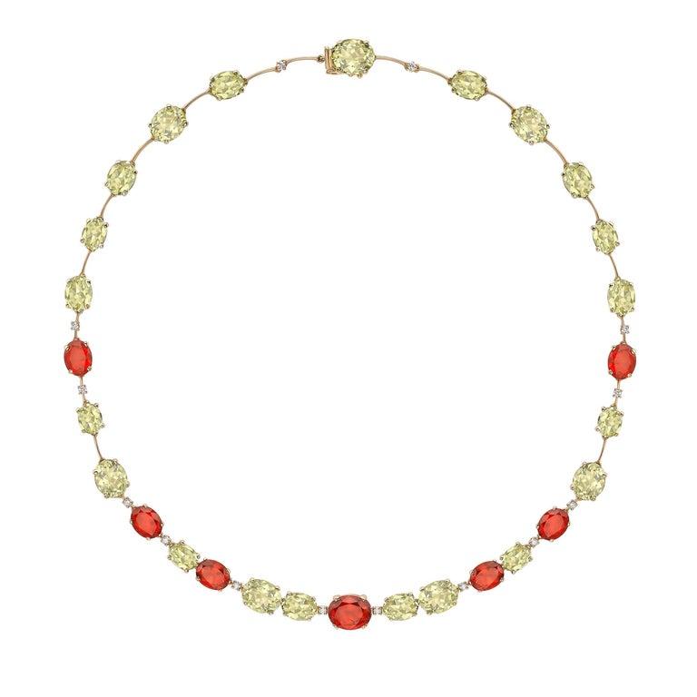 Kiki McDonough 18 Carat Yellow Gold Lemon Quartz and Fire Opal Necklace