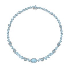 Kiki McDonough 18 Carat White Gold Marquise Cut Blue Topaz Necklace