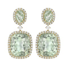 Kiki McDonough 18 Carat Yellow Gold Green Amethyst Drop Earrings