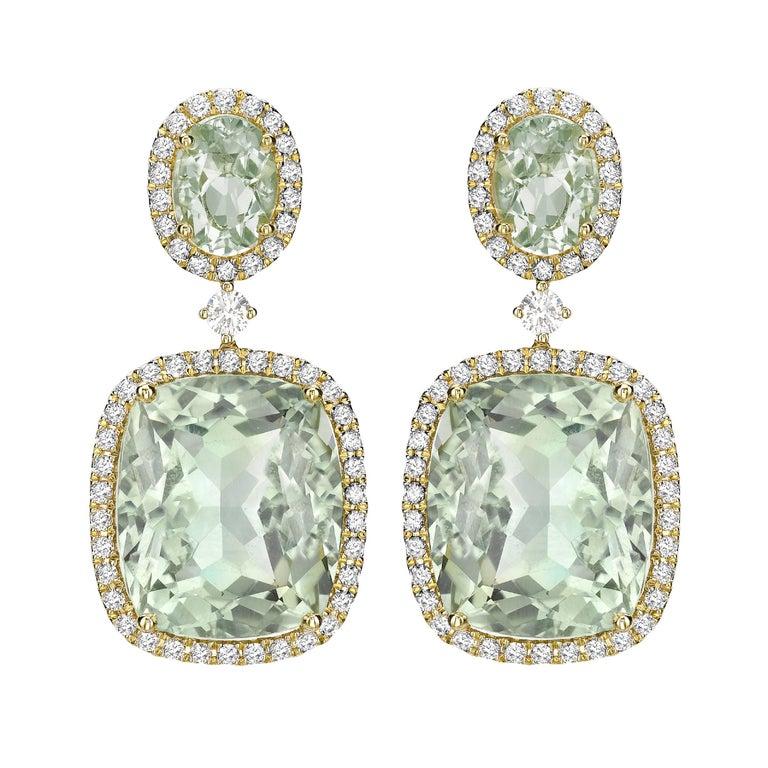 Kiki McDonough 18 Carat Yellow Gold Green Amethyst Drop Earrings
