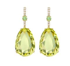 Kiki McDonough 18 Carat Yellow Gold Lemon Quartz and Peridot Drop Earrings