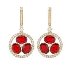 Kiki McDonough 18 Karat Yellow Gold Fire Opal and Diamond Drop Earrings