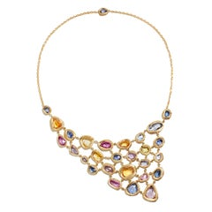 18 Karat Gold Bib Necklace with over 40 Carat of Blue and Multicolored Sapphires