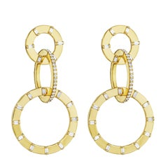 Cadar Unity Earrings, 18 Karat Yellow Gold and White Diamonds, Small