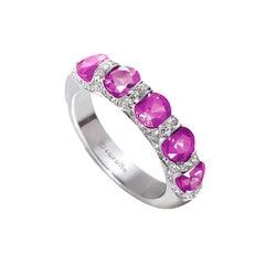 Carelle 18 Karat Gold, 1.25 Carat Pink Sapphire, .20 Carat Diamond Bridal Band