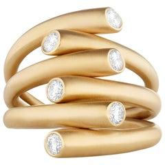 Modern 18K YG and .48 Carat Diamond Carelle Whirl Multi-Band Stacking Ring