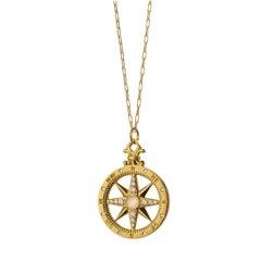 """Monica Rich Kosann 18 Karat Yellow Gold """"Travel"""" Compass Charm Necklace"""