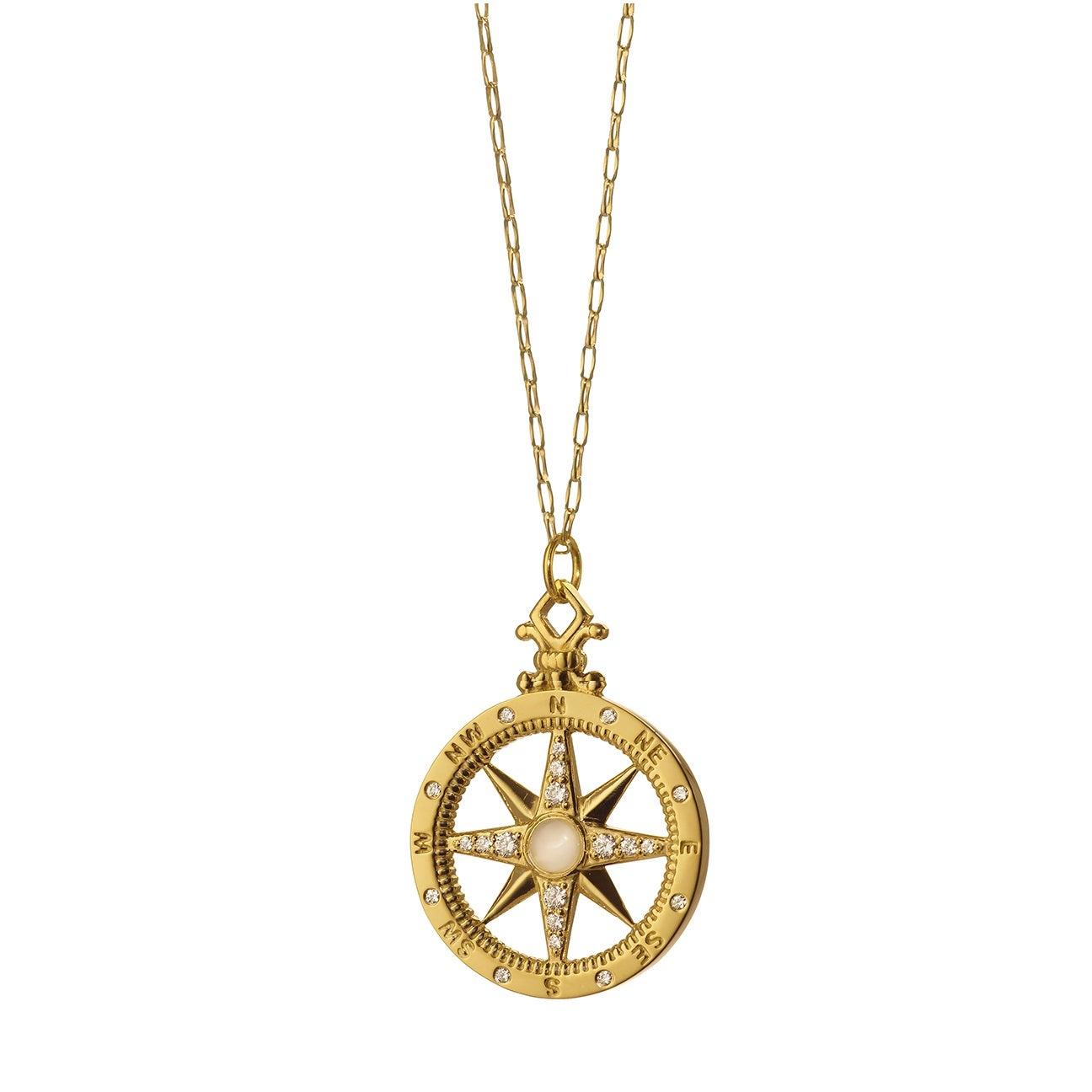 "Monica Rich Kosann 18K Yellow Gold ""Travel"" Compass Charm Necklace"