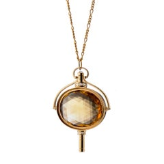 Monica Rich Kosann 18 Karat Gold Honey Quartz Oval Pocket Watch Key Necklace