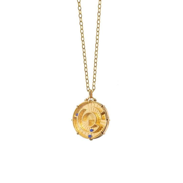 "Monica Rich Kosann 18 Karat Yellow Gold ""Success!"" Labyrinth Charm Necklace"