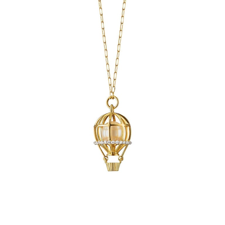 "Monica Rich Kosann 18 Karat Gold ""Adventure"" Hot Air Balloon Charm Necklace"