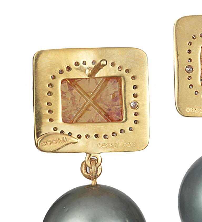Rose Cut Coomi Carved Mandarin Garnet Gray South Sea Pearl Diamond 20Kt Gold Earrings For Sale