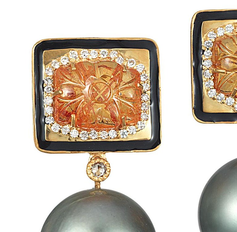 Artisan Coomi Carved Mandarin Garnet Gray South Sea Pearl Diamond 20Kt Gold Earrings For Sale
