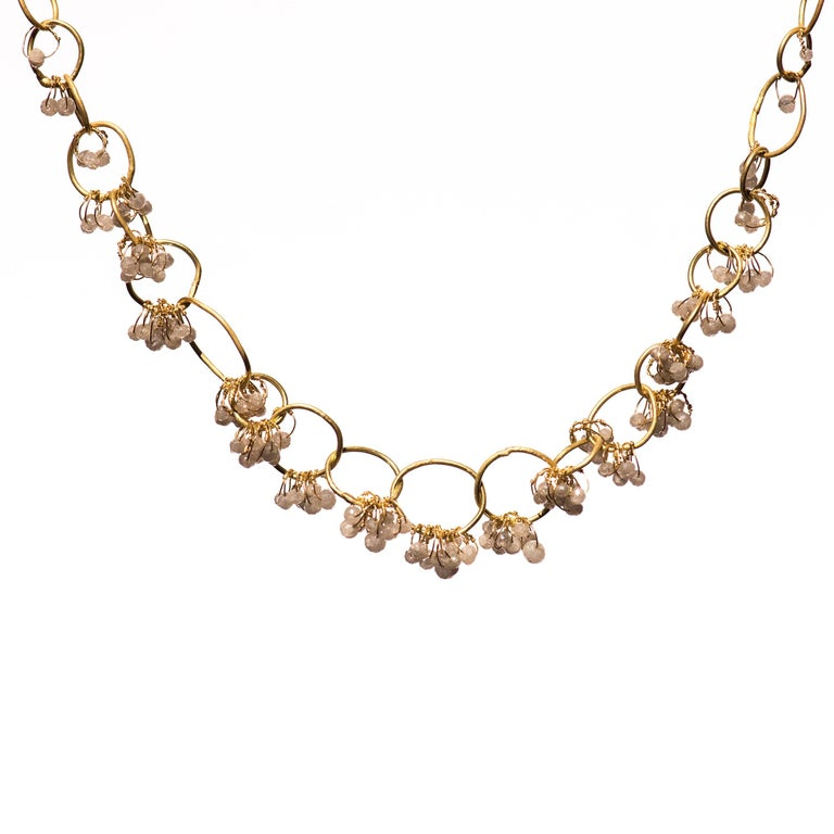 Grey Diamond and 18ct Yellow Gold handmade chain necklace. Each link is individually handmade using traditional reticulation techniques. 3mm Diamond faceted beads are scattered along the chain links using 18ct Gold wire intricately attached. The