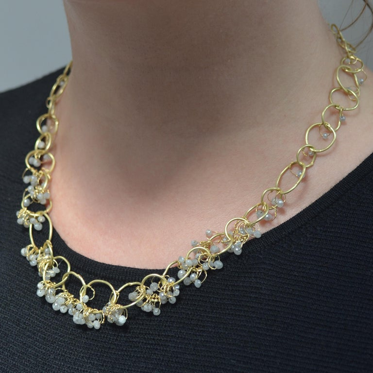 Contemporary 18k Gold Grey Diamond Handmade Chain Necklace For Sale