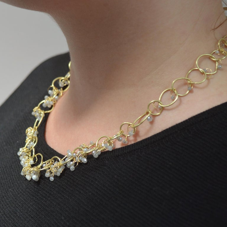 Round Cut 18k Gold Grey Diamond Handmade Chain Necklace For Sale