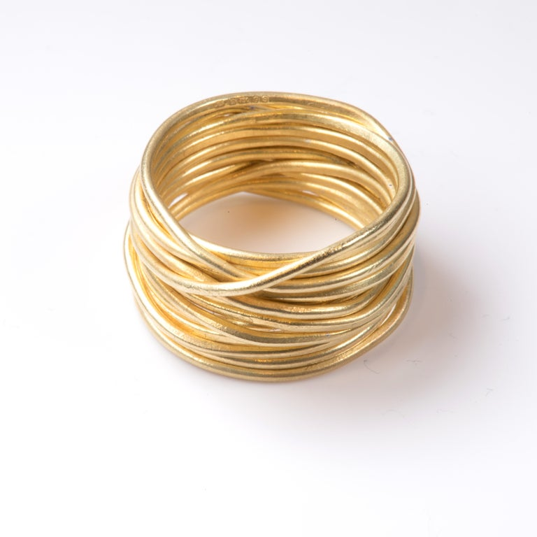 Contemporary 18k Gold 'Spaghetti' Wrapped Wire Ring Handmade by Disa Allsopp For Sale