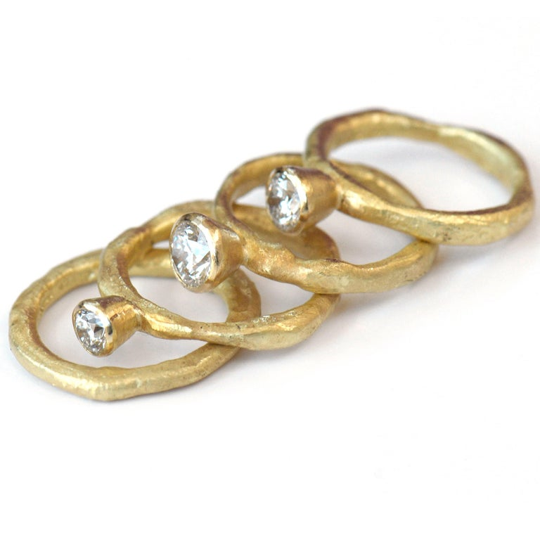 Contemporary 18k Gold GIA Certified Diamond Ring Stack Handmade by Disa Allsopp For Sale