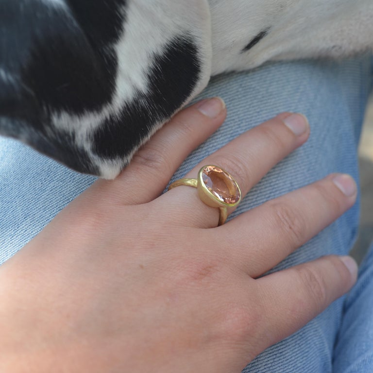 Oval Cut 18k Handmade Gold Organic Texture Ring with 7ct Oval Morganite by Disa Allsopp For Sale