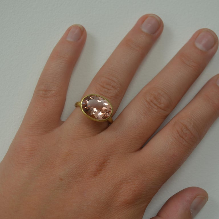 Women's 18k Handmade Gold Organic Texture Ring with 7ct Oval Morganite by Disa Allsopp For Sale