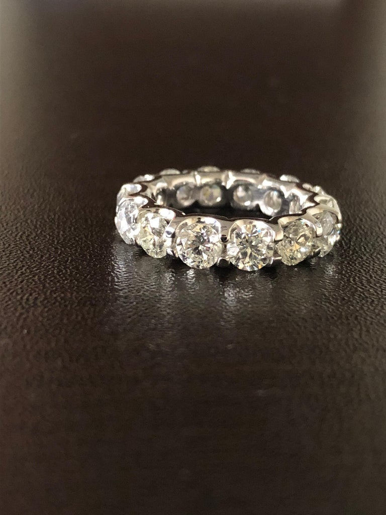 Women's Platinum Eternity Ring 7 Carats. For Sale