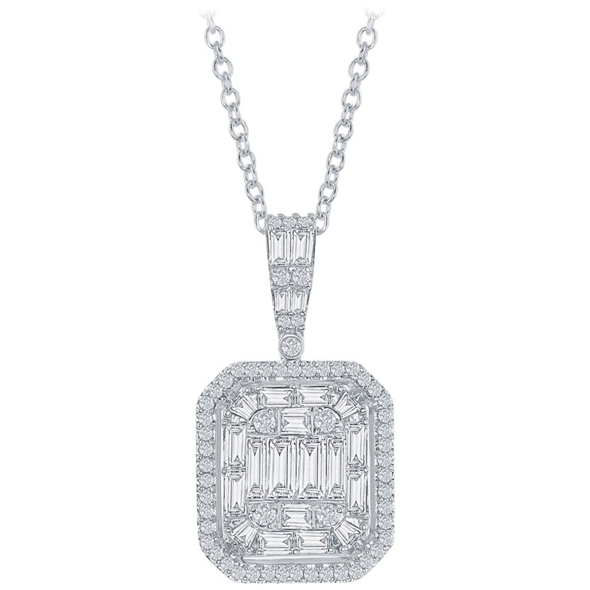 Emerald Cut Pendant 18 Karat White Gold