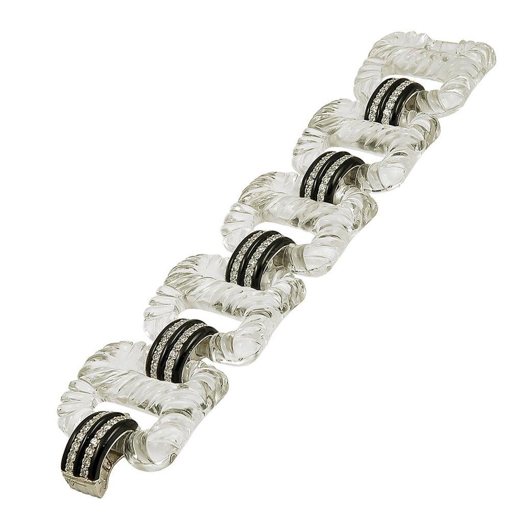 Seaman Schepps Rock Crystal Diamond Bracelet For Sale