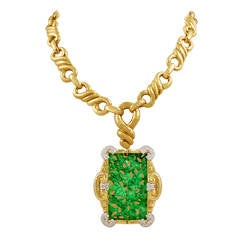 David Webb Gold Jade Pendant Necklace
