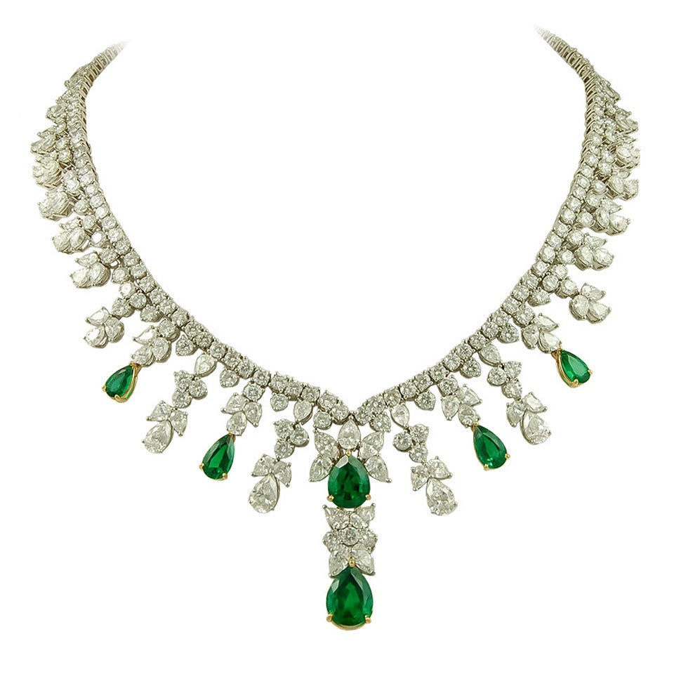 tiffany and co emerald diamond necklace for sale at 1stdibs
