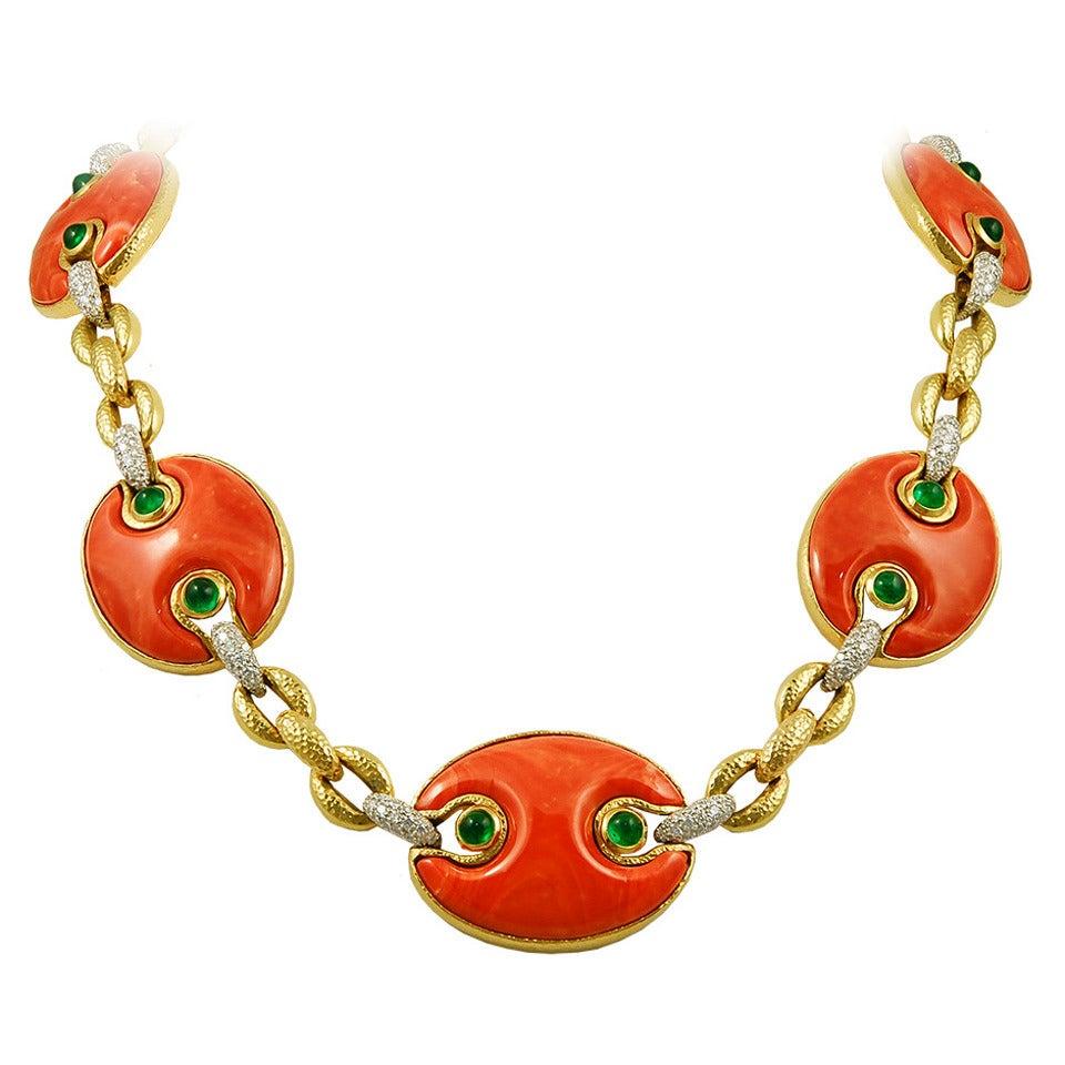 David Webb Coral Emerald Diamond Necklace