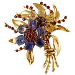 Van Cleef & Arpels Sapphire Ruby Flower Brooch